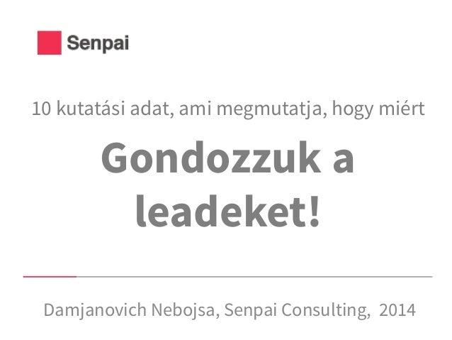 Gondozzuk a leadeket! Damjanovich Nebojsa, Senpai Consulting, 2014 10 kutatási adat, ami megmutatja, hogy miért