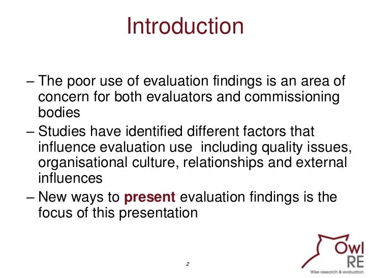 Seven new ways to present evaluation findings Slide 2