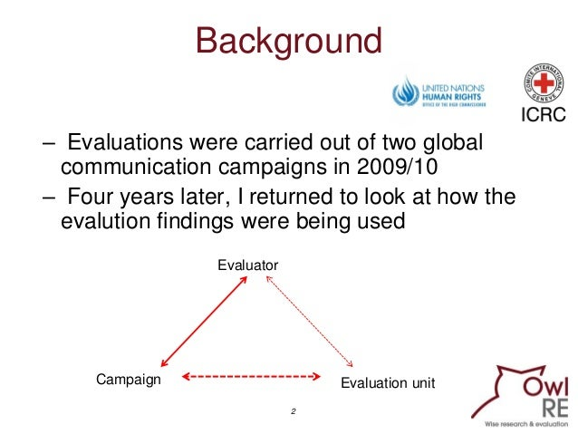 Tracking Use of Campaign Evaluation Findings of Two International Organisations Slide 2