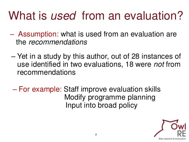 an evaluation on the use of In that original study, we asked respondents to comment on how, if at all, each of 11factors extracted from the literature on utilization had affected use of their evaluation.