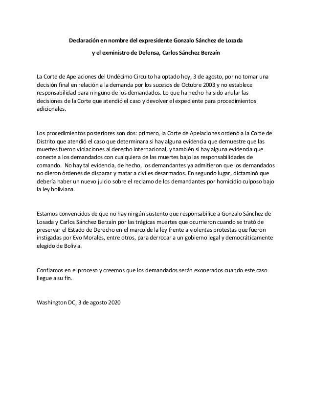 Declaraci�n en nombre del expresidente Gonzalo S�nchez de Lozada y el exministro de Defensa, Carlos S�nchez Berza�n La Cor...