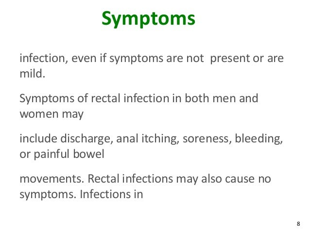 Gonorrhea symptoms anal infection