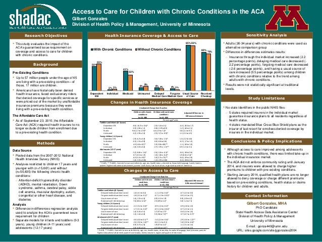 Access to Care for Children with Chronic Conditions in the ACA Gilbert Gonzales Division of Health Policy & Management, Un...
