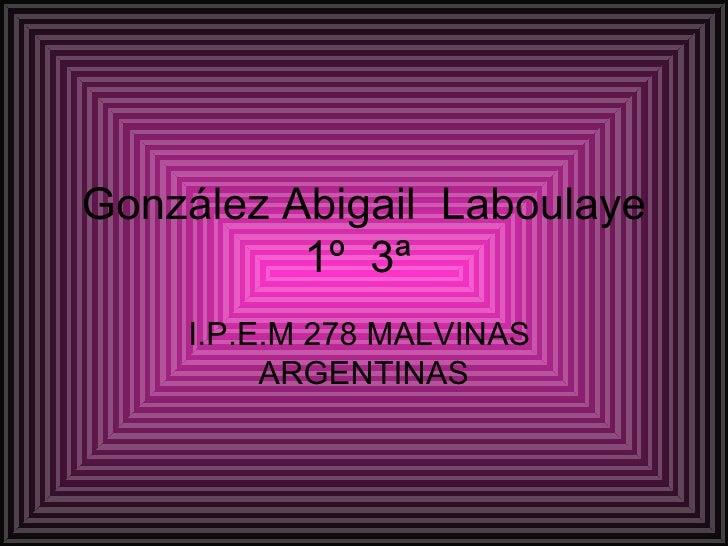 González Abigail  Laboulaye  1º  3ª  I.P.E.M 278 MALVINAS  ARGENTINAS