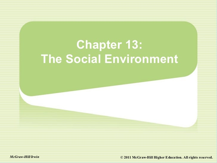 Chapter 13:                    The Social EnvironmentMcGraw-Hill/Irwin               © 2011 McGraw-Hill Higher Education. ...