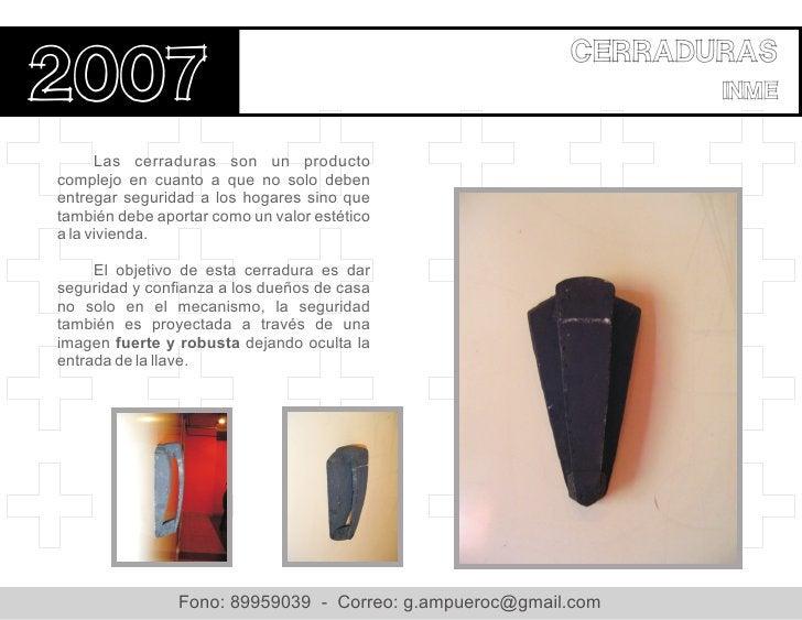cerraduras2007                                                            inme      Las cerraduras son un productocomplejo...