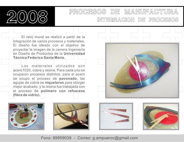 procesos de manufactura2008                                            integracion de procesos     El reloj mural se reali...