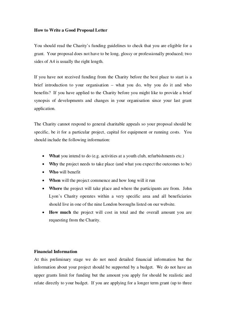 Good proposal letter how to write a good proposal letteryou should read the charitys funding guidelines to check that altavistaventures Images