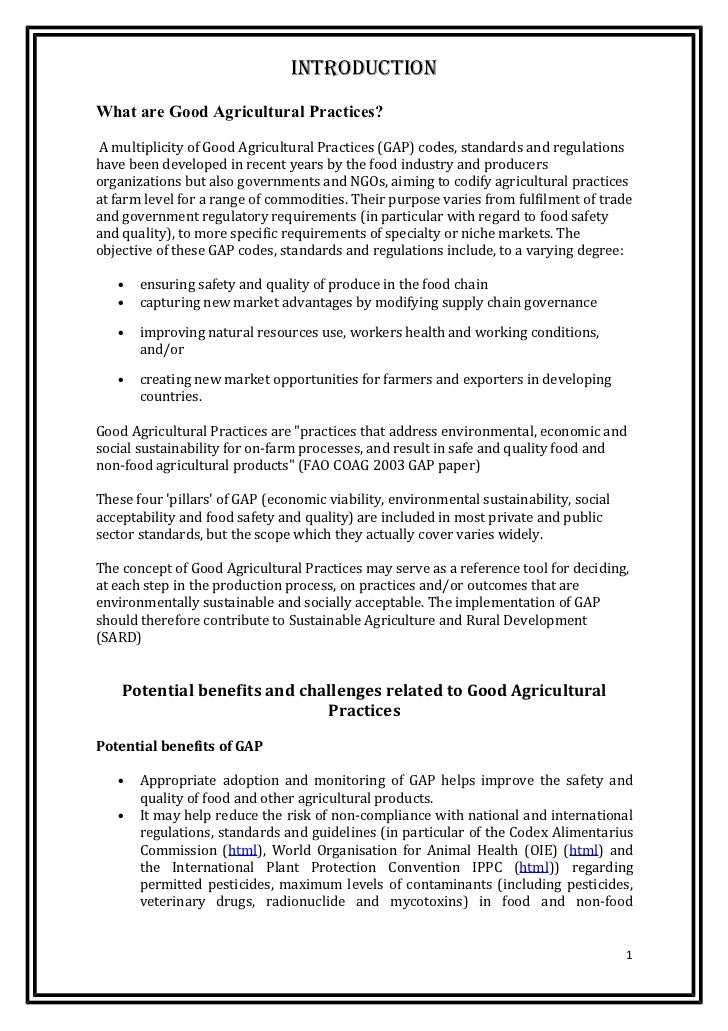 IntroductIonWhat are Good Agricultural Practices?A multiplicity of Good Agricultural Practices (GAP) codes, standards and ...