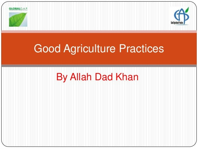 good agriculture practices Good agricultural practices for small diversified farms tips and strategies to reduce risk and pass an audit developed by north carolina state university and the carolina farm stewardship.