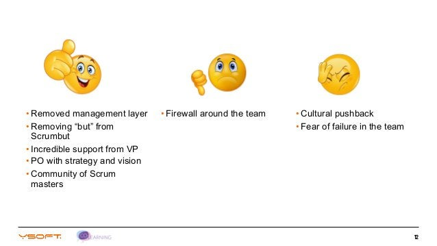 """12 • Removed management layer • Removing """"but"""" from Scrumbut • Incredible support from VP • PO with strategy and vision • ..."""