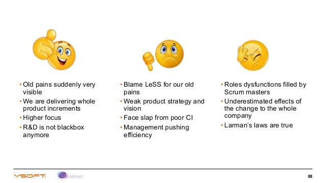 88 • Blame LeSS for our old pains • Weak product strategy and vision • Face slap from poor CI • Management pushing efficie...