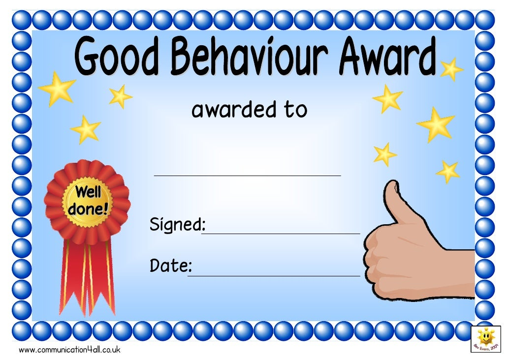 Good Behaviour Award