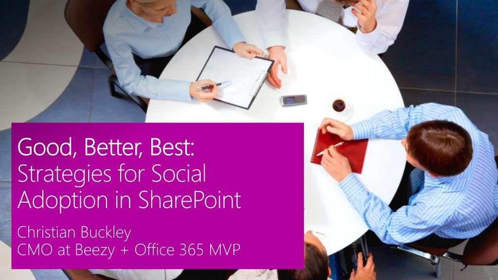 Good, Better, Best Strategies for Social Adoption in SharePoint