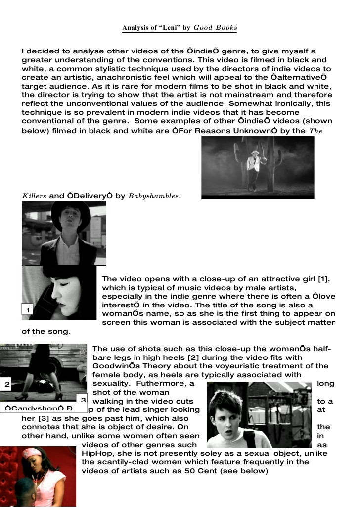 """Analysis of """"Leni"""" by Good Books       I decided to analyse other videos of the 'indie' genre, to give myself a     greate..."""