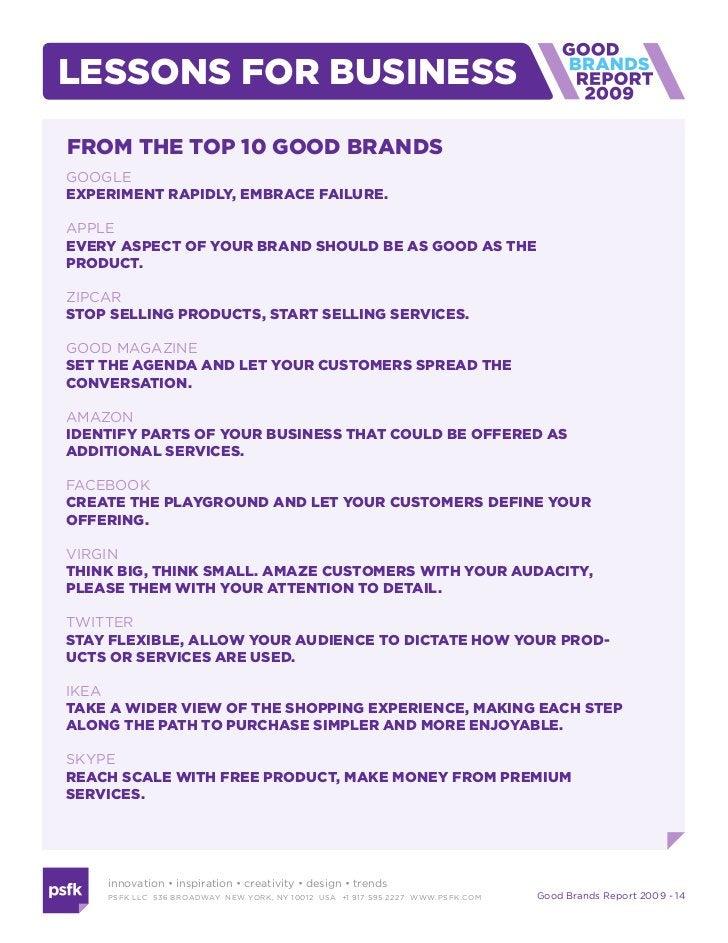 Good Brands Report 2009