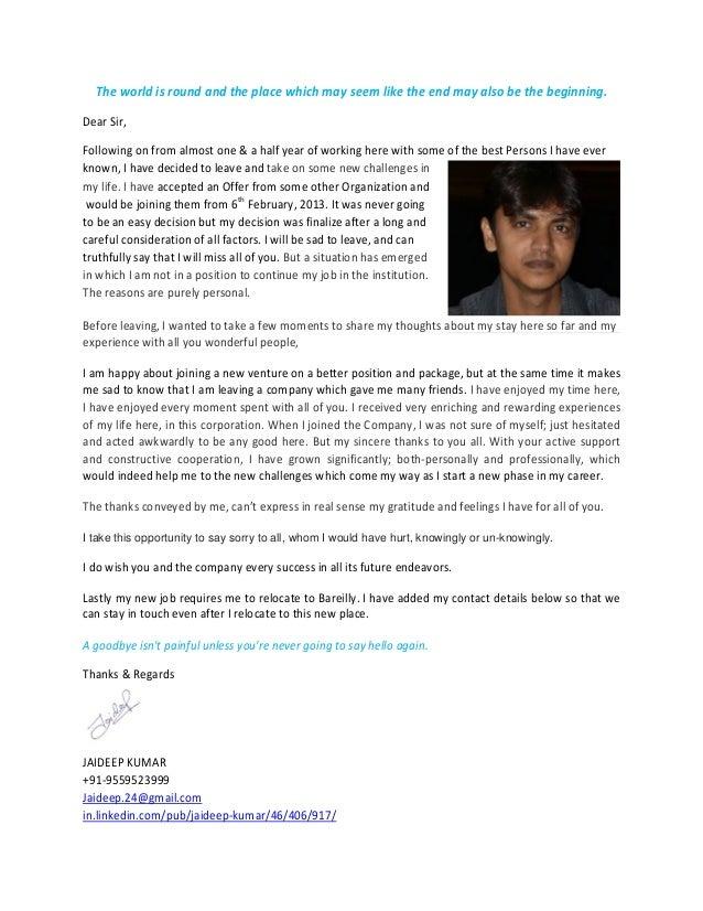 Goodbye letter