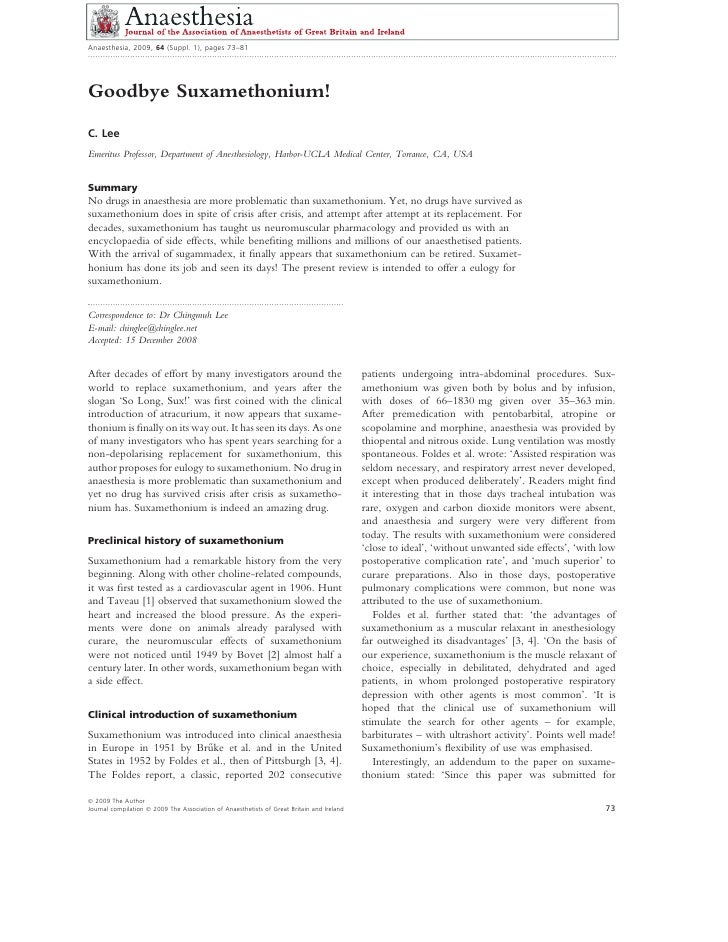 Anaesthesia, 2009, 64 (Suppl. 1), pages 73–81 ...............................................................................