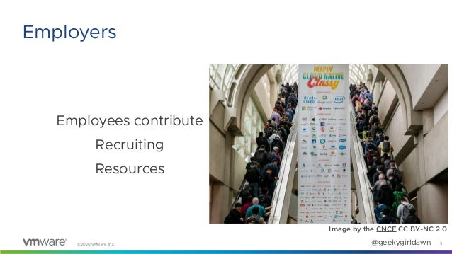 ©2020 VMware, Inc. @geekygirldawn Employees contribute Recruiting Resources 5 Employers Image by the CNCF CC BY-NC 2.0