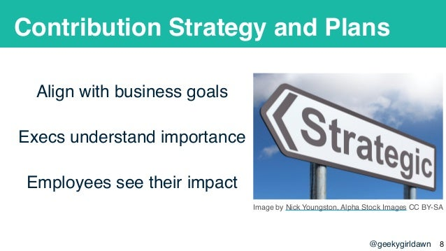 @geekygirldawn Contribution Strategy and Plans Align with business goals Execs understand importance Employees see their i...