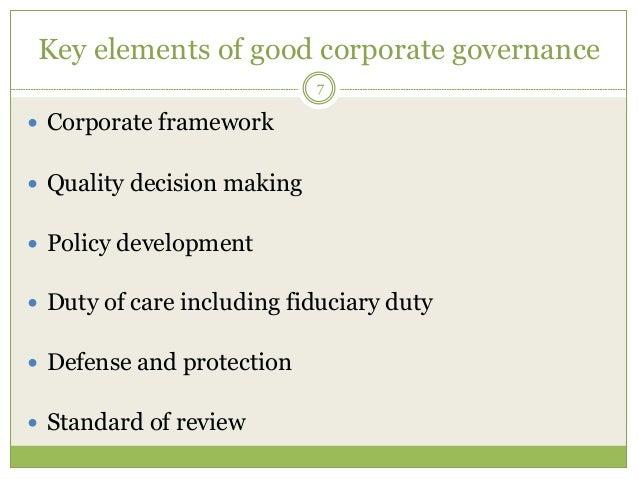 key elements of good governance
