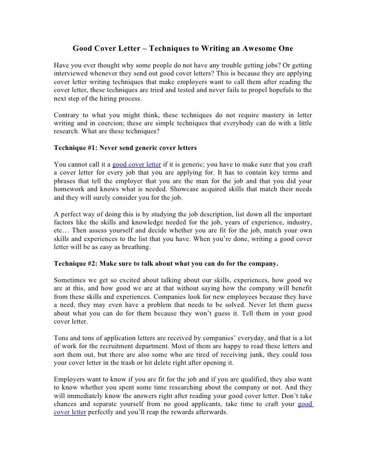 generic salutation for cover letter - good cover letter techniques to writing an awesome one