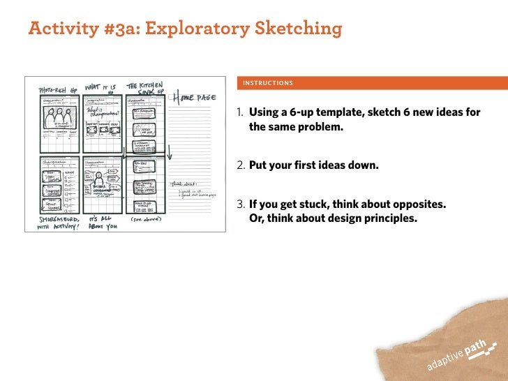 ACTIVITY ONE:  Activity #3a: Exploratory Sketching                           INSTRUCTIONS                            1. Us...