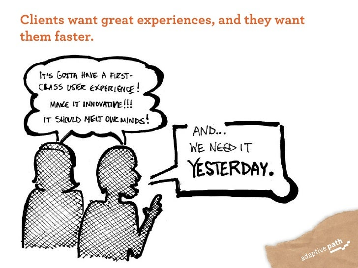 Clients want great experiences, and they want them faster.