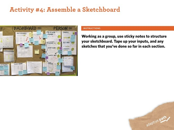 ACTIVITY ONE:  Activity #4: Assemble a Sketchboard                          INSTRUCTIONS                          Working ...