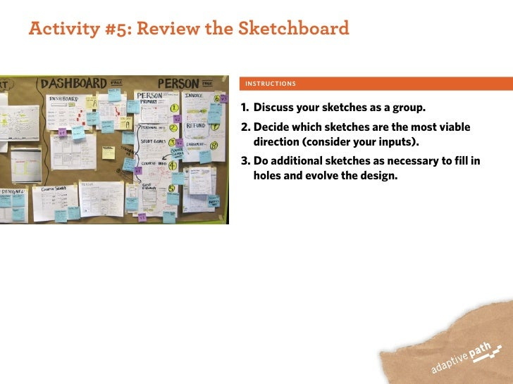 ACTIVITY ONE:  Activity #5: Review the Sketchboard                          INSTRUCTIONS                           1. Disc...