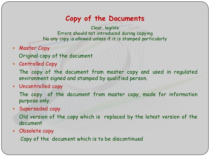 Good documentation practice Controlled Copy Stamp