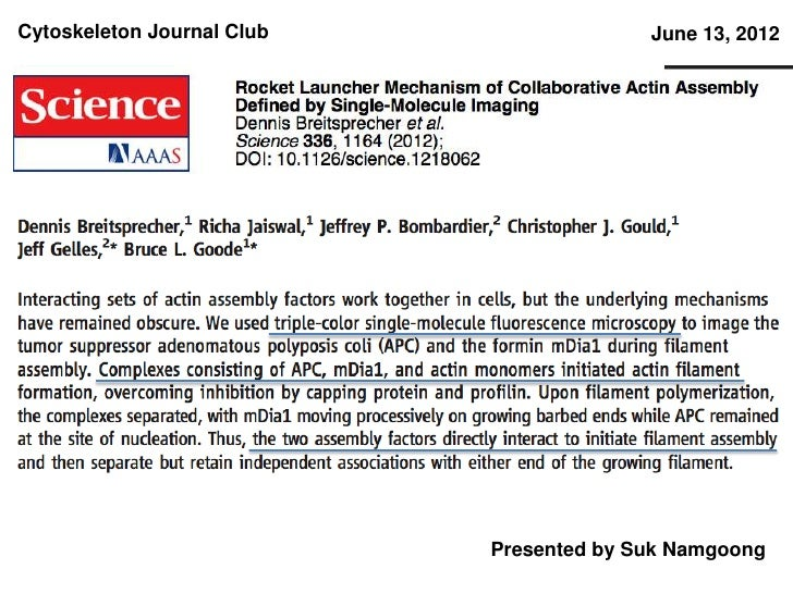 Cytoskeleton Journal Club                 June 13, 2012                            Presented by Suk Namgoong