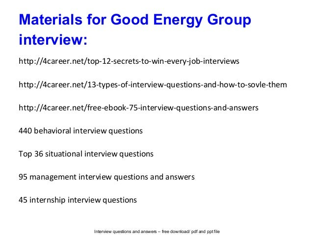 good energy group interview questions and answers