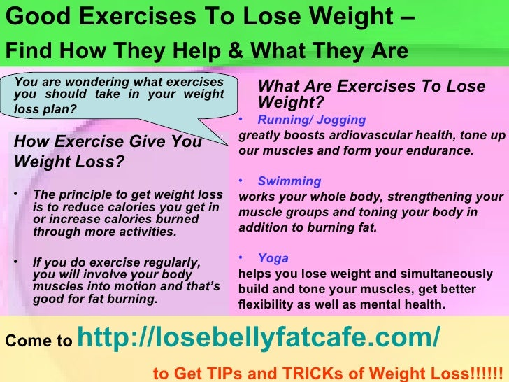 Good Exercises To Lose Weight – Find How They Help & What They Are   <ul><li>How Exercise Give You </li></ul><ul><li>Weigh...