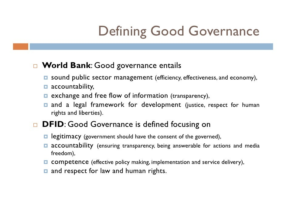 a good governance There is currently a lack of consensus as to exactly what good it governance looks like multinational professional services firms, worldwide associations of it professionals and top universities have all weighed in with significant contributions, producing some agreement, a lot of disagreement and.