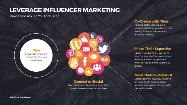 LEVERAGE INFLUENCER MARKETING Make Those Around You Look Good SMS @ Plan Grow your influencer network before you need them...