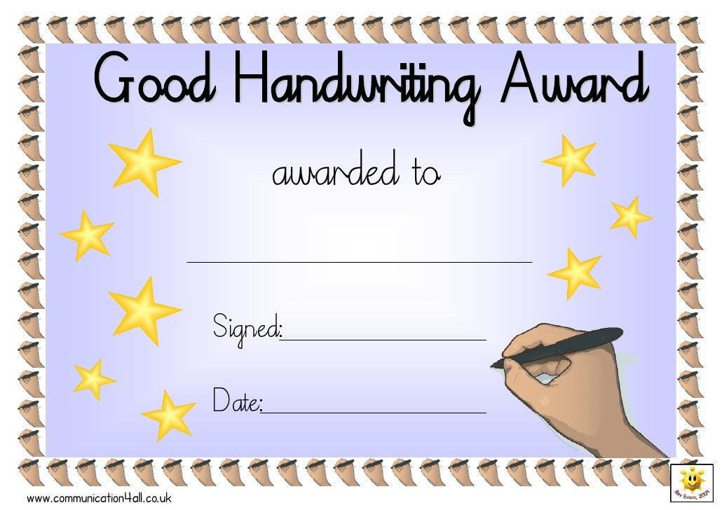 Good handwriting award