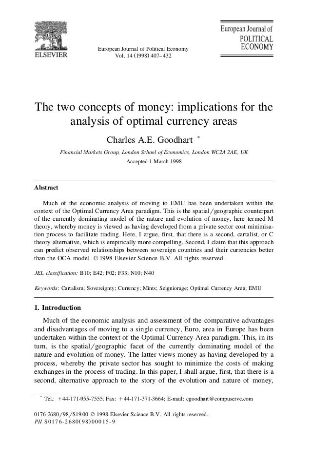 European Journal of Political Economy Ž .Vol. 14 1998 407–432 The two concepts of money: implications for the analysis of ...