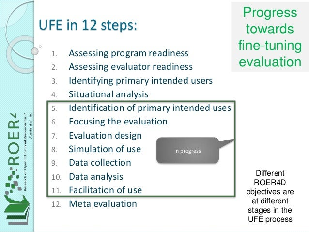 UFE in 12 steps: 1. Assessing program readiness 2. Assessing evaluator readiness 3. Identifying primary intended users 4. ...