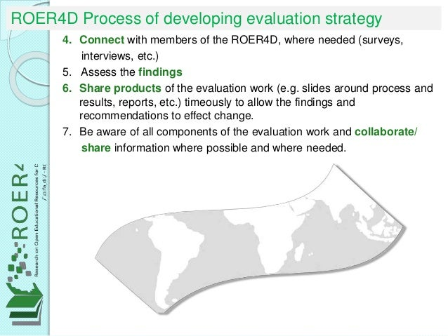ROER4D Process of developing evaluation strategy 4. Connect with members of the ROER4D, where needed (surveys, interviews,...