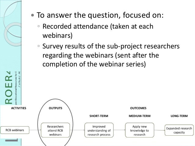  To answer the question, focused on: ◦ Recorded attendance (taken at each webinars) ◦ Survey results of the sub-project r...