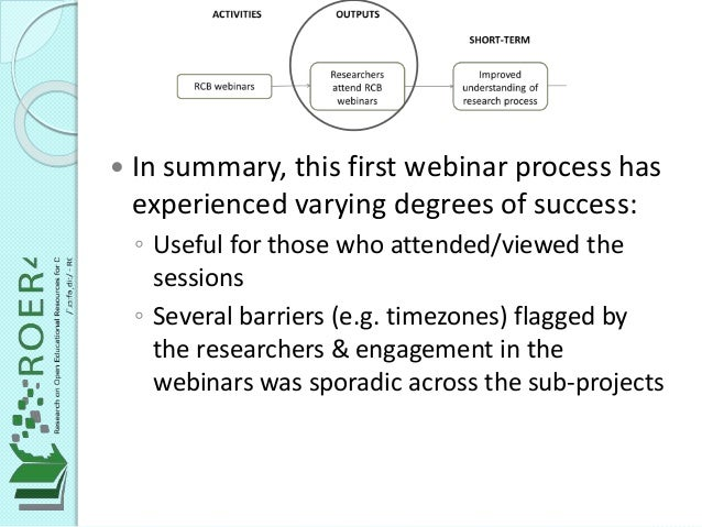  In summary, this first webinar process has experienced varying degrees of success: ◦ Useful for those who attended/viewe...