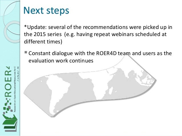 *Update: several of the recommendations were picked up in the 2015 series (e.g. having repeat webinars scheduled at differ...