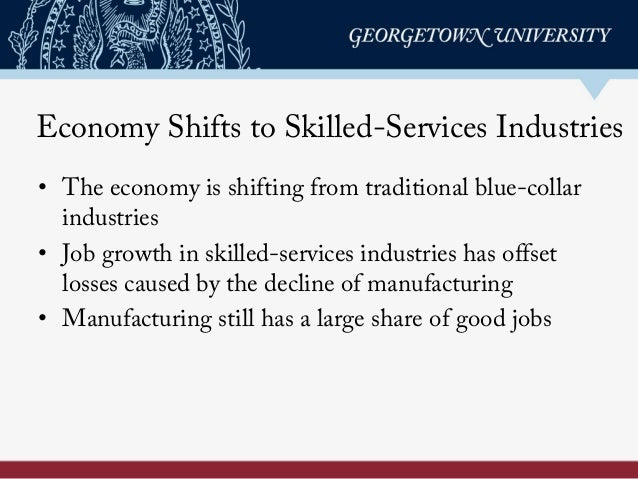 Economy Shifts to Skilled-Services Industries • The economy is shifting from traditional blue-collar industries • Job grow...