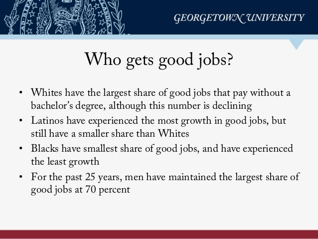 Who gets good jobs? • Whites have the largest share of good jobs that pay without a bachelor's degree, although this numbe...