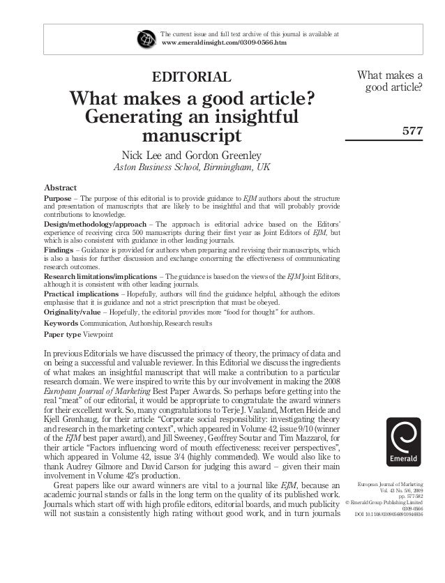 characteristics of a good editorial article