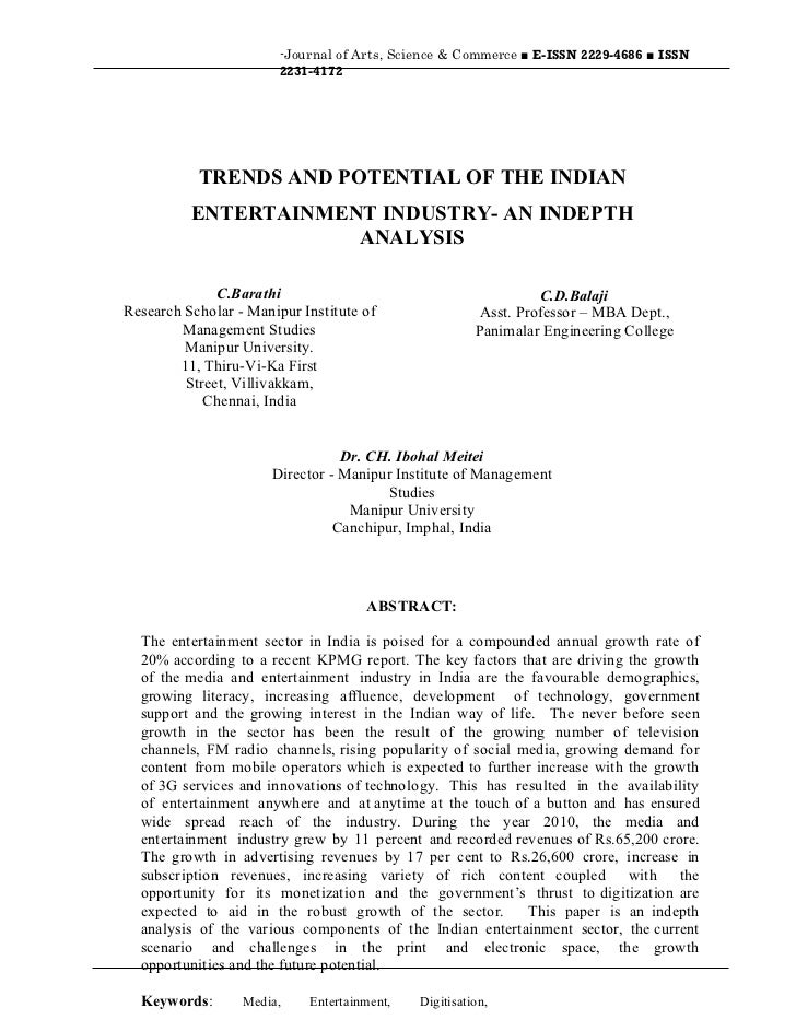 -Journal of Arts, Science & Commerce ■ E-ISSN 2229-4686 ■ ISSN                        2231-4172           TRENDS AND POTEN...