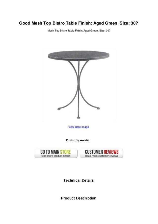 Charmant Good Mesh Top Bistro Table Finish: Aged Green, Size: 30?