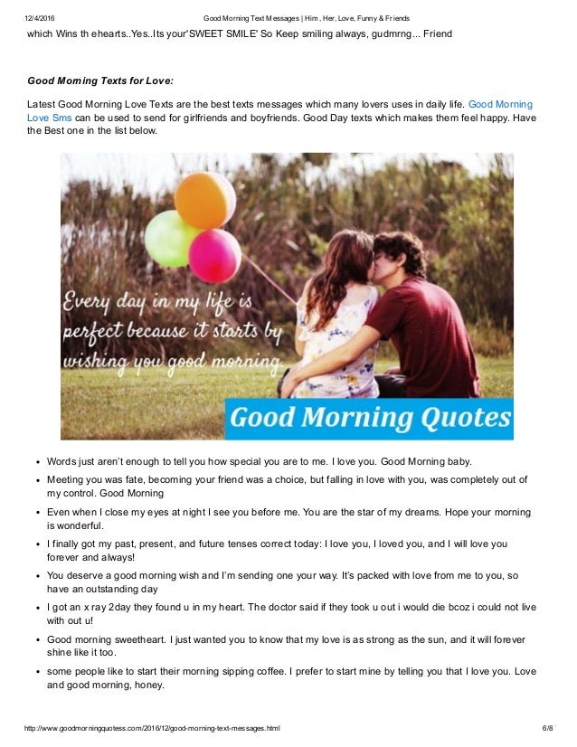... 6. 12/4/2016 Good Morning Text Messages ...