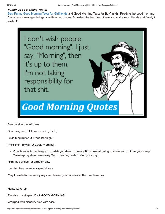 Funny Good Morning Text To My Girlfriend | Wallpaper sportstle